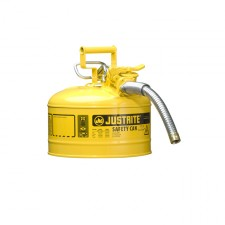 "Justrite 7225230 - 2.5 Gallon Type 2 AccuFlow Yellow Safety Diesel Can 1"" Hose"