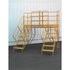 "Ladder Industries Steel U-Shaped Crossover Stairways with 24""W Safety Grating Treads"